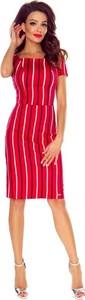 Sukienka Bergamo z krótkim rękawem ołówkowa z okrągłym dekoltem