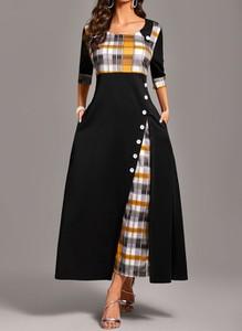 Sukienka Cikelly z długim rękawem maxi z okrągłym dekoltem
