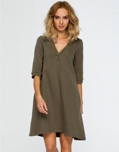 Sukienka MOE z dzianiny mini z długim rękawem