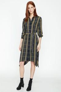 Sukienka Koton z długim rękawem z dekoltem w kształcie litery v w stylu casual