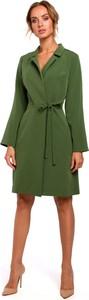 Sukienka MOE z tkaniny z długim rękawem z dekoltem w kształcie litery v