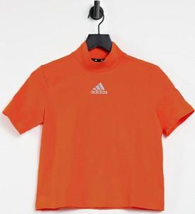 T-shirt Adidas Performance w sportowym stylu z bawełny z golfem