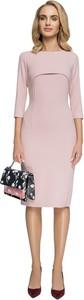 Różowa sukienka Style ołówkowa z długim rękawem midi