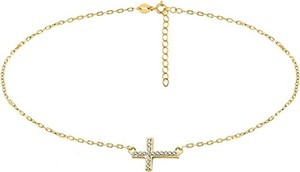Valerio Delikatny pozłacany srebrny naszyjnik gwiazd celebrytka krzyżyk krzyż cross cyrkonie srebro 925 Z1664N_G