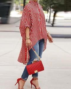 Czerwona bluzka Kendallme z długim rękawem z okrągłym dekoltem