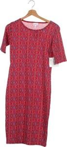 Czerwona sukienka Lularoe z krótkim rękawem w stylu casual z okrągłym dekoltem