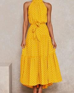 Żółta sukienka Kendallme z okrągłym dekoltem maxi bez rękawów