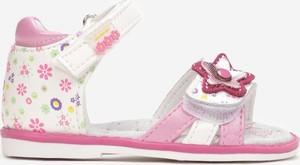 Niebieskie buty dziecięce letnie Multu w kwiatki na rzepy