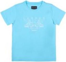 Niebieska koszulka dziecięca Emporio Armani z bawełny z krótkim rękawem