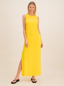 Żółta sukienka Emporio Armani maxi prosta w stylu casual