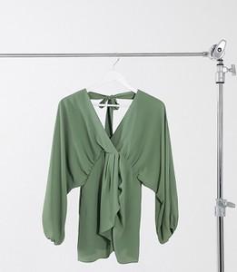 ASOS DESIGN Maternity – Top w kolorze khaki z głębokim dekoltem w kształcie litery V i obszernymi rękawami kimonowymi-Zielony