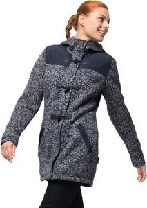 Granatowy płaszcz Jack Wolfskin z dzianiny