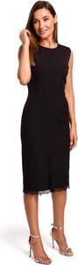 Czarna sukienka MOE midi z okrągłym dekoltem