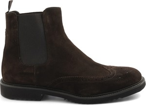 Brązowe buty zimowe Sangiorgio ze skóry