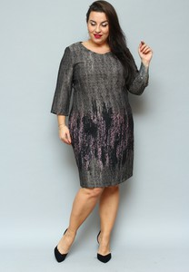 Sukienka KARKO z okrągłym dekoltem z długim rękawem dla puszystych