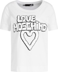 T-shirt Love Moschino z okrągłym dekoltem w młodzieżowym stylu z krótkim rękawem