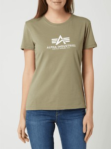 Zielona bluzka Alpha Industries z okrągłym dekoltem z bawełny z krótkim rękawem