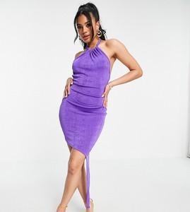Fioletowa sukienka Asyou z golfem na ramiączkach