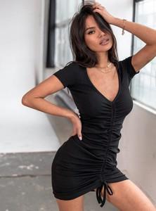 Czarna sukienka SELFIEROOM z bawełny mini