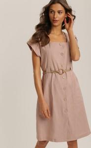 Różowa sukienka Renee mini z okrągłym dekoltem z krótkim rękawem