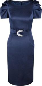 Sukienka Fokus z tkaniny ołówkowa z okrągłym dekoltem