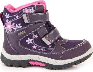 Fioletowe buty dziecięce zimowe American Club na rzepy