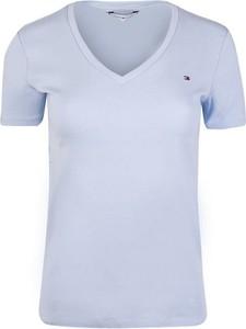 Niebieski t-shirt Tommy Hilfiger z dekoltem w kształcie litery v z krótkim rękawem