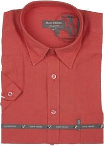 Czerwona koszula Aldo Vrandi z bawełny z klasycznym kołnierzykiem z krótkim rękawem
