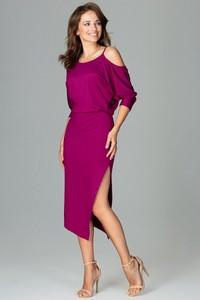 Fioletowa sukienka LENITIF asymetryczna