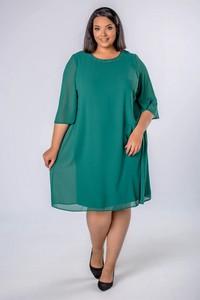 Zielona sukienka candivia.pl z okrągłym dekoltem midi z tiulu