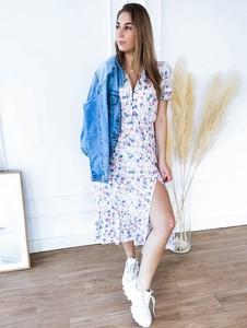 Sukienka Perfe.pl midi z długim rękawem w stylu casual