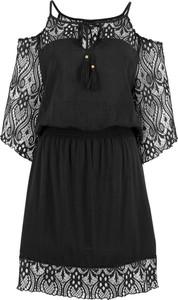 Czarna sukienka bonprix BODYFLIRT mini trapezowa z długim rękawem