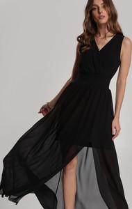 Czarna sukienka Renee bez rękawów maxi z dekoltem w kształcie litery v