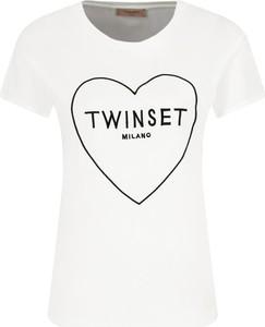T-shirt Twinset z okrągłym dekoltem z krótkim rękawem