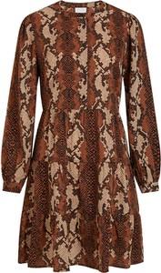 Brązowa sukienka Vila mini w stylu casual