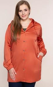 Pomarańczowa kurtka modneduzerozmiary.pl z bawełny w stylu casual