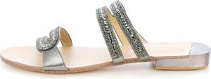 Prima moda szare klapki z kryształkami anzino