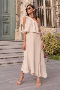 Sukienka IVET asymetryczna z asymetrycznym dekoltem maxi