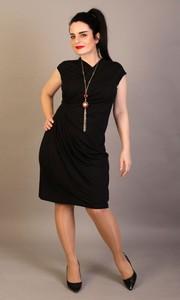 Czarna sukienka Oscar Fashion z dekoltem w kształcie litery v