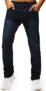 Granatowe jeansy Dstreet w stylu casual z bawełny
