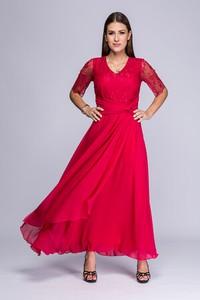Czerwona sukienka Semper z długim rękawem