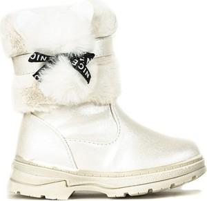 Srebrne buty dziecięce zimowe Royalfashion.pl na zamek dla dziewczynek