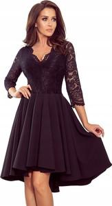 Czarna sukienka NUMOCO dla puszystych z długim rękawem z dekoltem w kształcie litery v