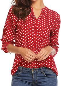 Czerwona bluzka Cikelly z dekoltem w kształcie litery v