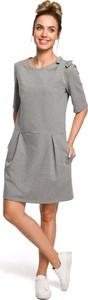 Sukienka MOE z okrągłym dekoltem z bawełny w stylu casual