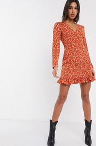 Pomarańczowa sukienka Fashion Union mini z długim rękawem