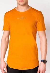 Pomarańczowy t-shirt Edoti z nadrukiem