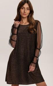 Brązowa sukienka Renee mini z okrągłym dekoltem