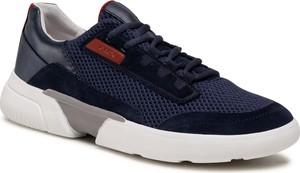 Granatowe buty sportowe Geox sznurowane z zamszu