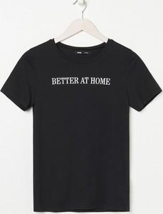 Czarny t-shirt Sinsay z bawełny z okrągłym dekoltem